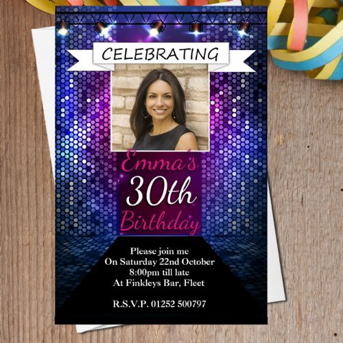 10 Personalised Colourful Bokeh Birthday Party PHOTO Invitations N195